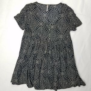 Free People Babydoll Dress Geometric Tribal Print